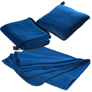 2in1 Fleecedecke/Kissen Radcliff,blau