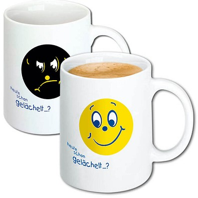 Magic Print-Tasse Smilie, 300 ml, weiß
