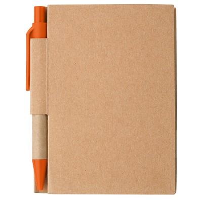 Notizbuch mit Kugelschreiber Mini, liniert, natur/orange