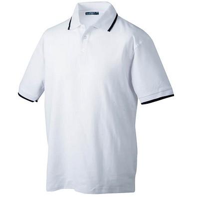 JAMES & NICHOLSON Herren Poloshirt Pique, weiß/dunkelblau, XL
