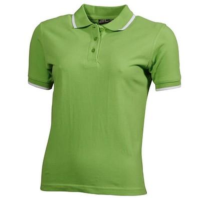 JAMES & NICHOLSON Damen Poloshirt Pique, hellgrün/weiß, S