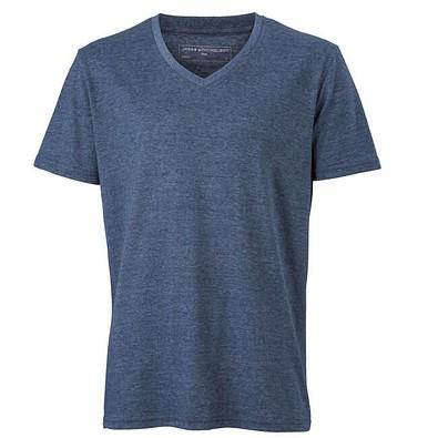 JAMES & NICHOLSON Herren T-Shirt mit V-Ausschnitt, blau/melange, L