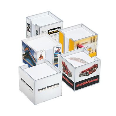 Zettelbox inkl. Rundumdruck, quadratisch