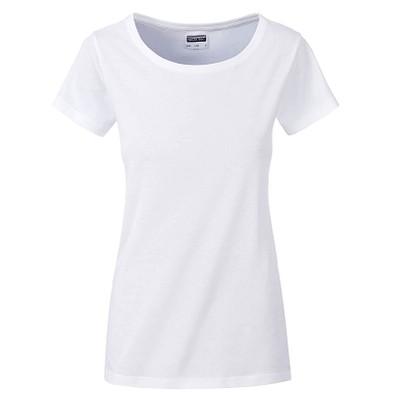 JAMES & NICHOLSON Damen T-Shirt Basic aus Bio-Baumwolle, weiß, XS