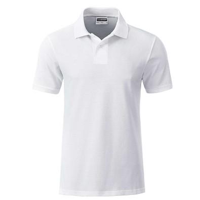 JAMES & NICHOLSON Herren Poloshirt Basic Bio BW, weiß, S