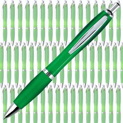 Werbe-Set: 400 Kugelschreiber Rio, inkl. Druck,  grün/transparent
