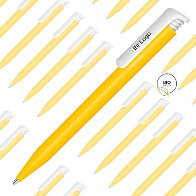 Spar-Preis senator® Druck-Kugelschreiber Super Hit Bio, 500 Teile, inkl. 1-fbg. Druck, blaue Mine, gelb