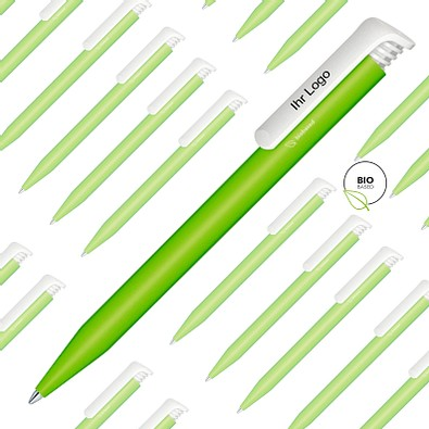 Spar-Preis senator® Druck-Kugelschreiber Super Hit Bio, 500 Teile, inkl. 1-fbg. Druck, blaue Mine, hellgrün
