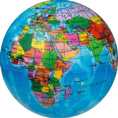 Anti-Stressball in Weltkugeloptik, ---