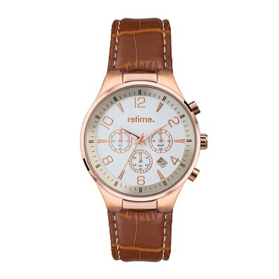 retime® Chronograph Classic XII, braun/rosegold