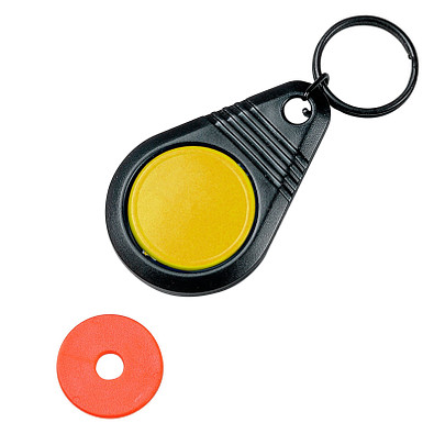 """Dreh-Schlüsselanhänger """"Point"""" mit Chip, standard-gelb"""