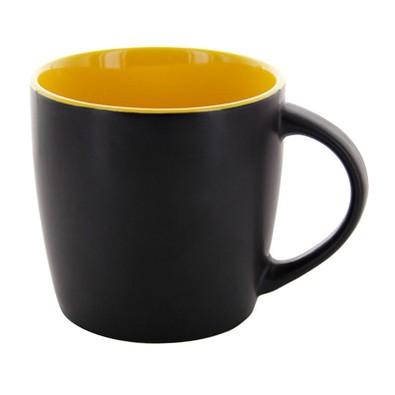 Keramiktasse Emilia, 250 ml, schwarz matt/gelb