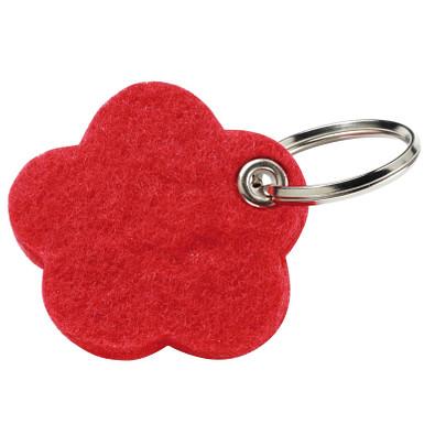 Filz-Schlüsselanhänger Motiv Blume, rot