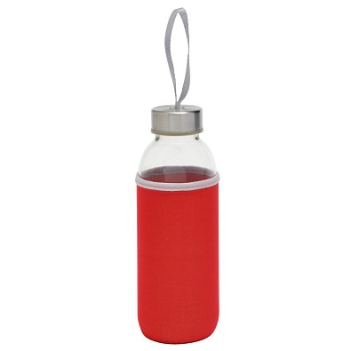 Glasflasche mit Hülle 450 ml, , rot