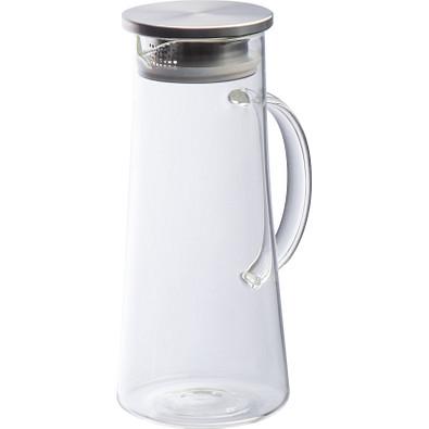 Glaskaraffe mit Deckel aus Edelstahl, 1.400 ml, transparent
