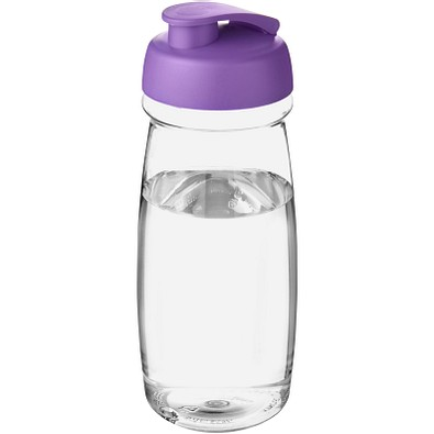 H2O Pulse Sportflasche mit Klappdeckel, 600 ml, transparent,lila