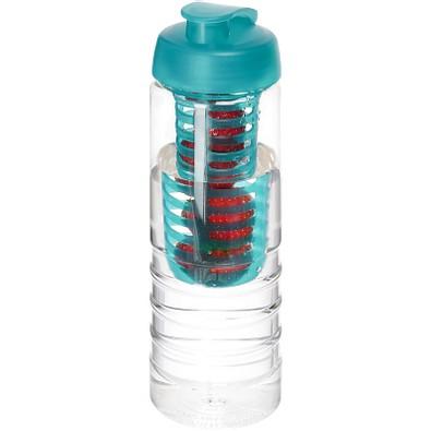 H2O Treble Flasche mit Klappdeckel und Infusor, 750 ml, transparent,aquablau