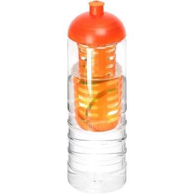 H2O Treble Flasche mit Kuppeldeckel und Infusor, 750 ml, transparent,orange