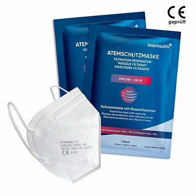 Interhealth Atemschutzmaske FFP 2, 5er-Pack, weiß