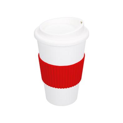 Kaffeebecher Premium mit Manschette, 350 ml, weiß/rot