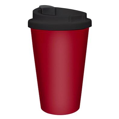 Kaffeebecher PremiumPlus, 350 ml, standard-rot/schwarz