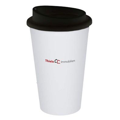 Kaffeebecher Premium, 350 ml, weiß/schwarz