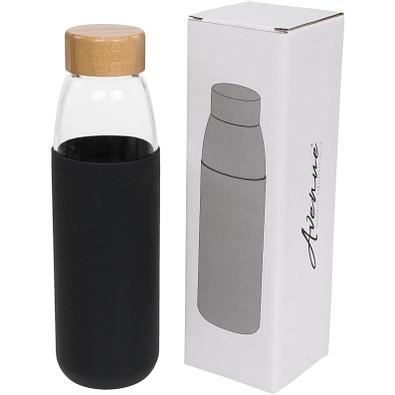 Kai Sportflasche aus Glas mit Holzdeckel, 540 ml, schwarz