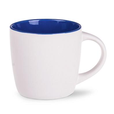Keramiktasse Handy Pure, 300 ml, matt weiß/dunkelblau