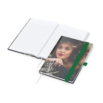 geiger notes Notizbuch Match-Book White A5 Bestseller, inkl. Digitaldruck auf Einband, gloss, grün