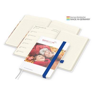 geiger notes Notizbuch Match-Hybrid A5 Creme Bestseller, matt, inkl. Druck, mittelblau