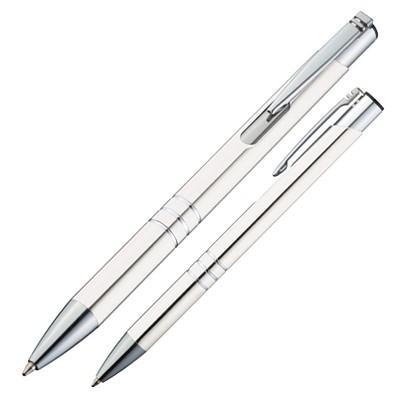 Metall-Kugelschreiber Minsk, blaue Mine, weiß