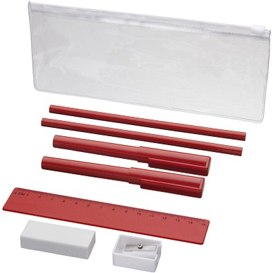 Mindy 8-teiliges Federmäppchen-Set, blaue Mine, rot