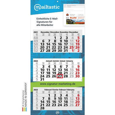 geiger notes Monatskalender Maxi Light 3 Bestseller, Benelux, inkl. Druck, hellgrau