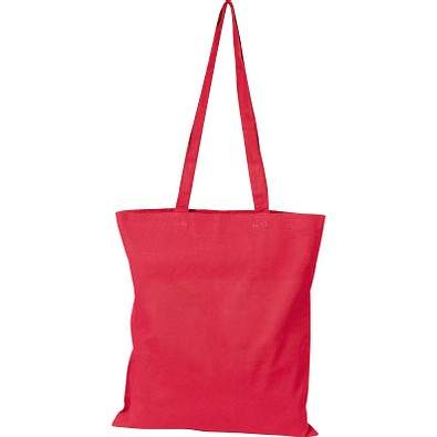 Oeko-Tex® STANDARD 100 Baumwolltasche mit langen Henkeln, 140g/m², rot