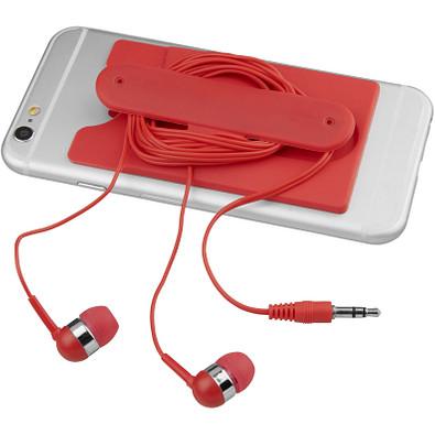 Ohrhörer mit Kabel und Silikon Telefontasche, rot