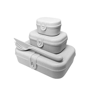 koziol Lunchbox-Set Pascal Ready mit KLIKK-Besteck, organic grey