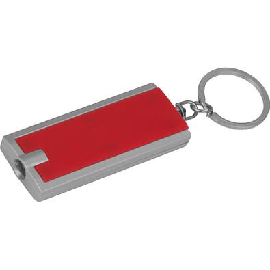 Rechteckiger Schlüsselanhänger mit LED Lämpchen, rot