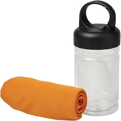 Remy Kühlhandtuch in PET-Behälter, orange