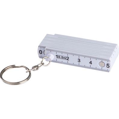 Schlüsselanhänger mit ausklappbarem Zollstock, weiß