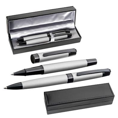 Schreibset aus Drehkugelschreiber und Rollerball, grau
