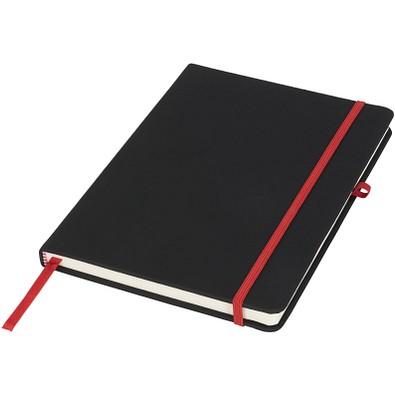 Schwarzes DIN A5 Notizbuch, schwarz,rot