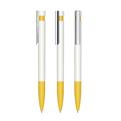 senator® Druckkugelschreiber Liberty Polished Basic SG MC, blaue Mine, weiß,gelb 7408