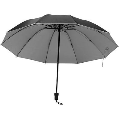 Taschenschirm aus Pongee mit silbernem Innenteil, schwarz