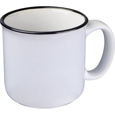 Tasse aus Keramik mit schwarzem Rand, weiss