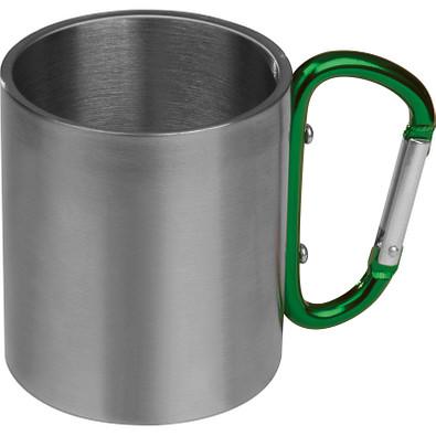 Tasse aus Metall mit Karabinerhaken, grün