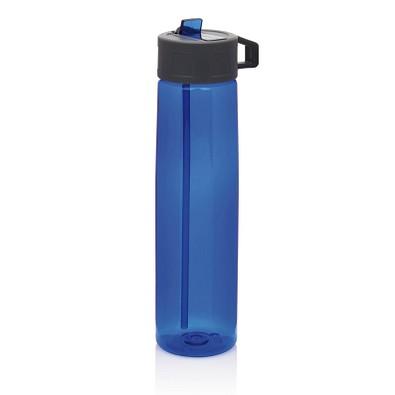 XD COLLECTION Tritan Trinkflasche mit Strohhalm, 750 ml, blau/grau