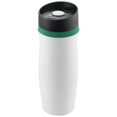 METMAXX® Vakuum-Thermobecher Metall, 400 ml, weiß/grün