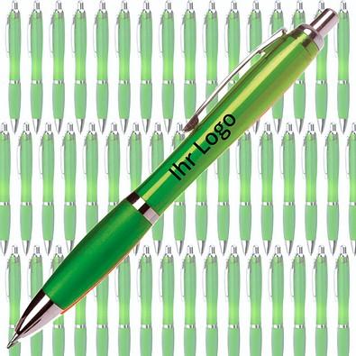 Werbe-Set: 400 Kugelschreiber Rio, inkl. Druck, blaue Mine, grün/transparent