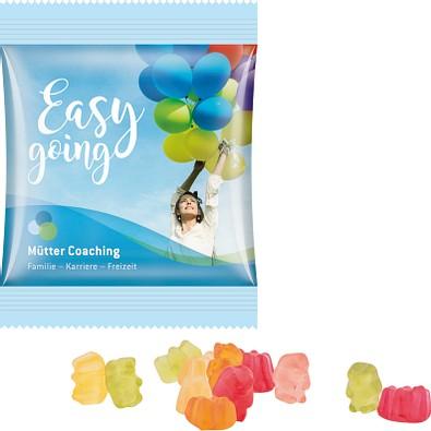 Trolli Zuckerreduzierte Gummibärchen Minitüte, inkl. Druck, kompostierbare Folie, weiß